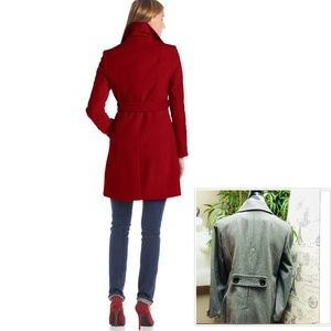 PETITE LARGE GRAY WOOL DESIGNER COAT